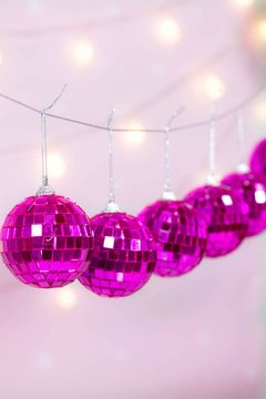 Guirnalda Disco Ball Pink - cachitaonline