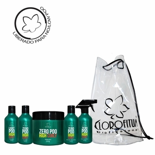 Kit High Curly Light/Zero Poo - Shampoo, Co-wash, Máscara, Ativador de Cachos e Day Afetr + Bolsa Praia