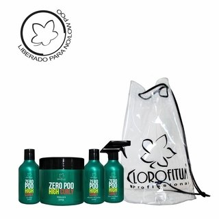 Kit High Curly Zero Poo - Co-wash, Máscara, Ativador de Cachos e Day Afetr + Bolsa Praia