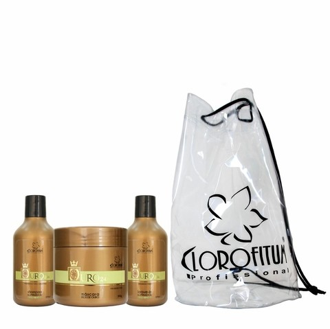 Kit Ouro 24k - Shampoo 300ml, Leave-in 300ml e Máscara 500g + Bolsa Praia
