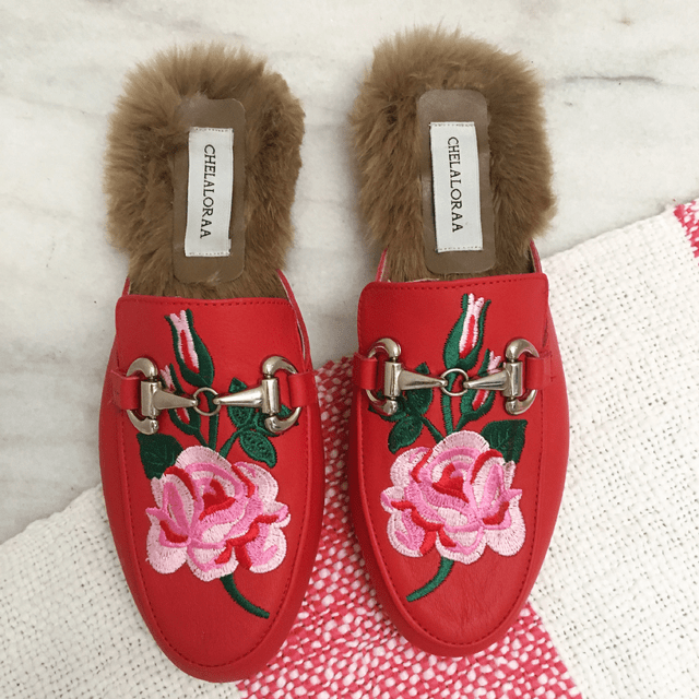 SLIPPER ROSE RED