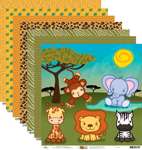 Kit de Papéis para Scrapbook Safari - Cod. 43