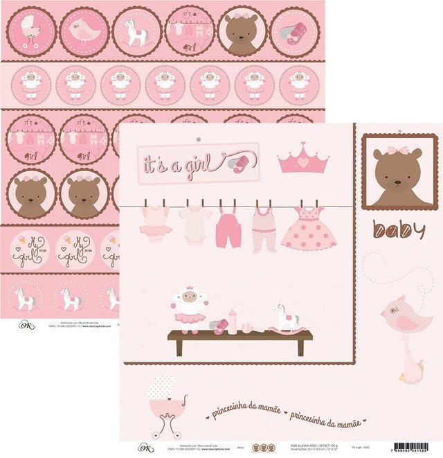 Papel Okscrapbook It's a Girl - Cod. 6402