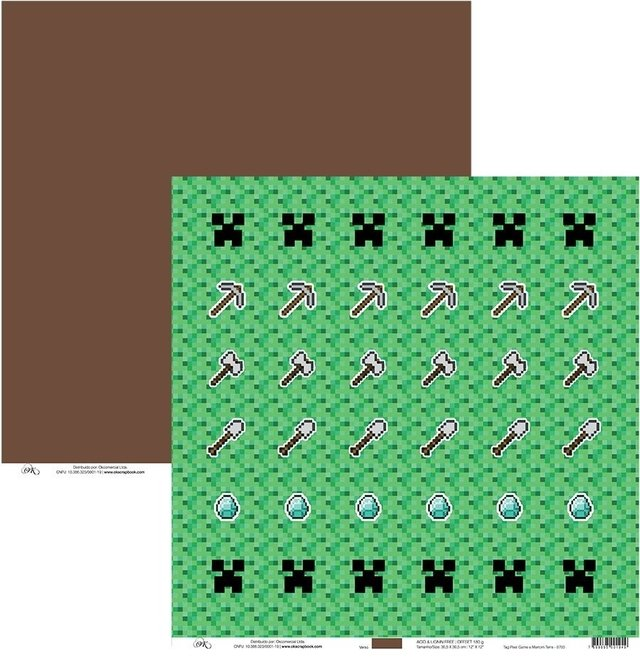 Papel Okscrapbook Tag Pixel Game e Marrom - Cod. 8703