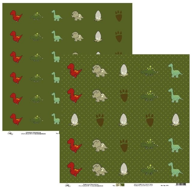 Papel Okscrapbook Dino Tags - Cod. 9703