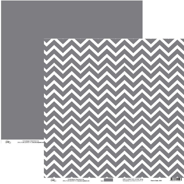 Papel Okscrapbook Chevron Grafite - Cod. 9803
