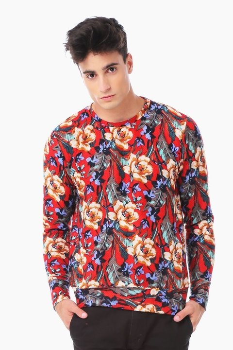 Buzo Red Floral Print - tienda online