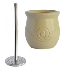Mate de plastico doble pared + bombilla