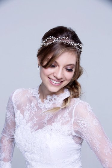 Bridal Headband with cristals and Peals swarovisk Graciella Starling