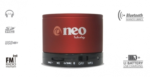 PARLANTE BLUETOOTH NEO BS 200 ROJO G/3 MESES