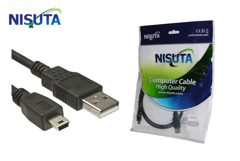 CABLE USB A MINI USB 5 PINES 1.8MT 2.0 REAL NISUTA NS-CAMIUSR