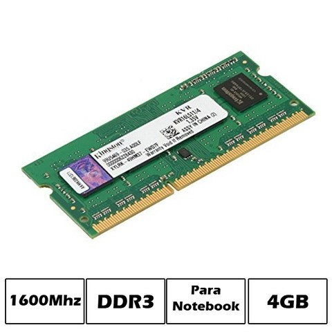 MEM NB DDR3 4GB PC1600 KINGSTON 1.35V G/6 MESES - comprar online