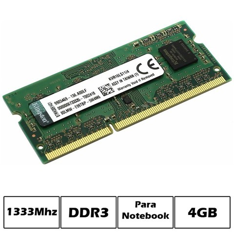 MEM NB DDR3 4GB PC1333 KINGSTON 1.5V G/6 MESES - comprar online