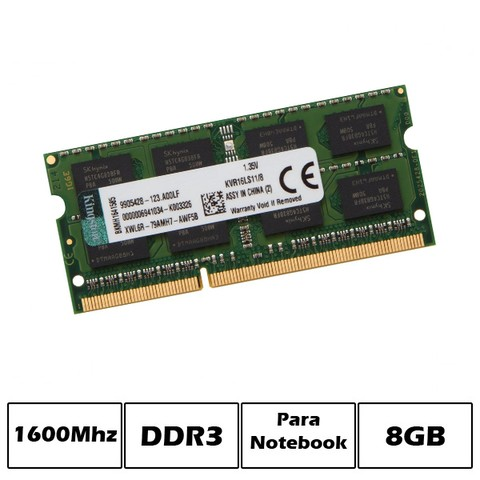 MEM NB DDR3 8GB PC1600 KINGSTON 1.35V  G/6 MESES