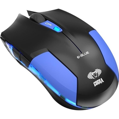 Mouse Gamer USB 1600DPI Cobra Type-M Preto/Azul E-BLUE - 60276