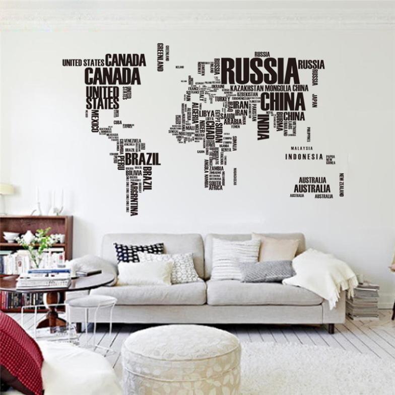 Adesivo De Parede Com Mapa Mundi Gigante Black And White