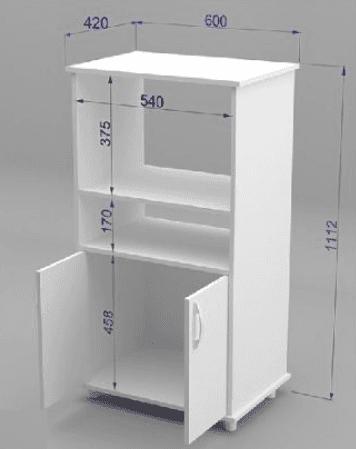 Mueble organizador de cocina con espacio para microondas Mueble para horno