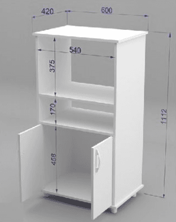 Mueble organizador de cocina con espacio para microondas horno electrico - Muebles auxiliares para microondas ...