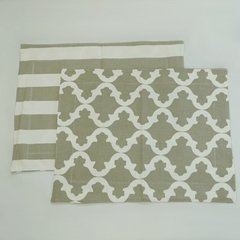 SET X4 INDIVIDUALES REVERSIBLES BEIGE 40X50