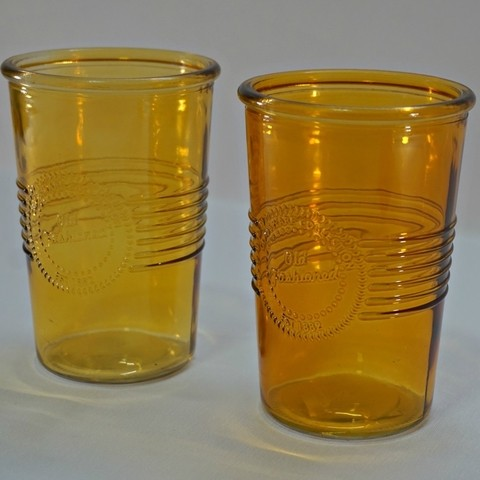 VASO DE VIDRIO COLOR AMBAR  OLD FASHIONED MEDIANO SET X2