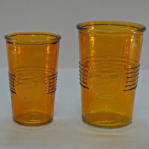 VASO DE VIDRIO COLOR AMBAR  OLD FASHIONED MEDIANO SET X2 - comprar online