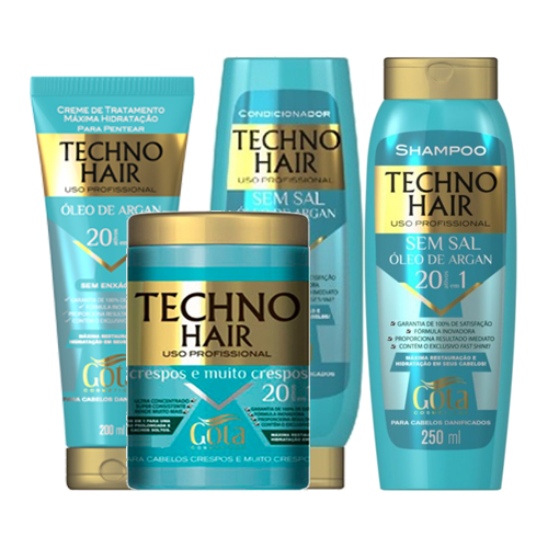 Kit Techno Hair Óleo de Argan - Gota Dourada - SH + Cond + Masc + Sem enxague