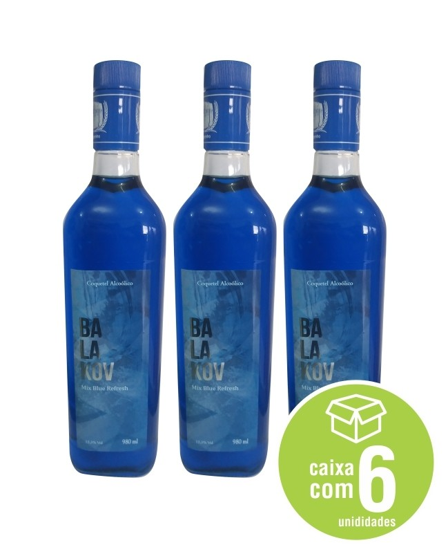 VODKA BALAKOV SABOR MIX BLUE REFRESH - caixa com 6 unidades