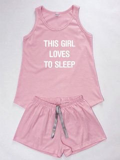 Pijama Feminino Loves To Sleep Regata e Shorts