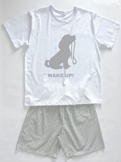 Pijama Masculino Xadrez Wake Up Manga Curta e Shorts