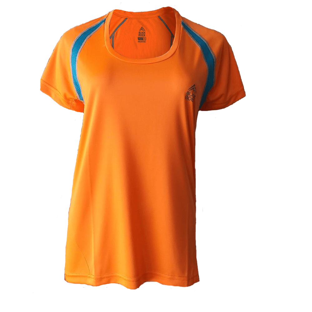 Remera Running DAMA Naranja Fluo - Black Rock - RRDO