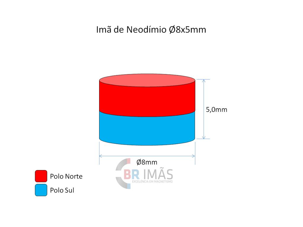 ba4681e66f7 Imã Neodímio N35 Ø8x5mm - Disco - Br Imãs