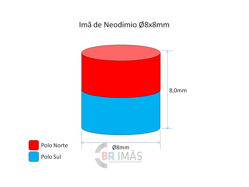 c2cf9eb294b Imã Neodímio N35 Ø8x8mm - Cilindro - Br Imãs