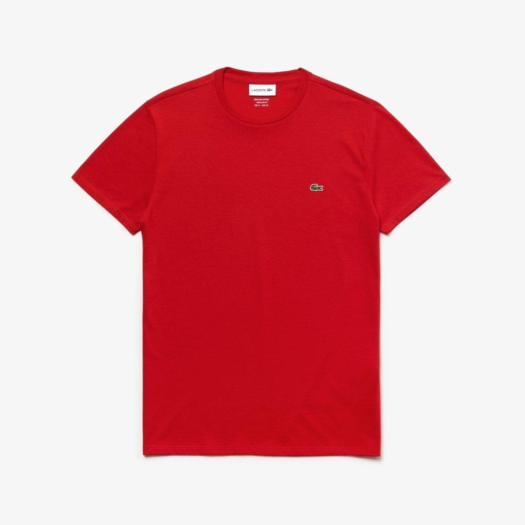48ef15346158c Camiseta Lacoste Vermelha Algodão Pima
