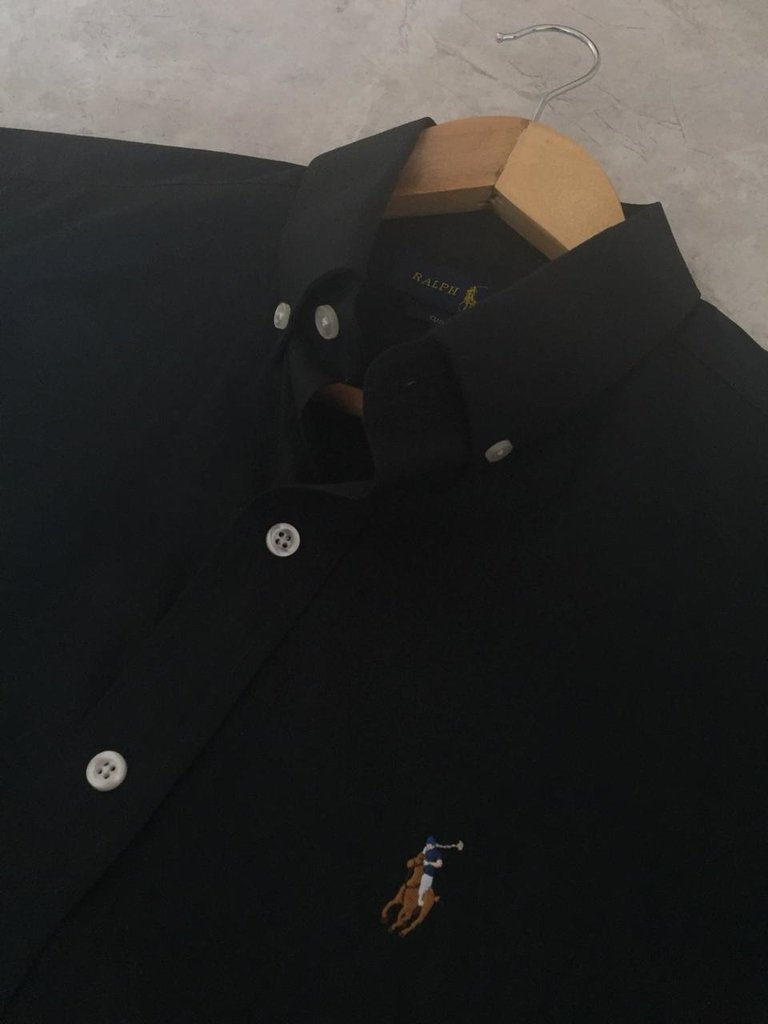 Camisa Ralph Lauren Manga Curta Preta Custom Fit 7d3f30cb811