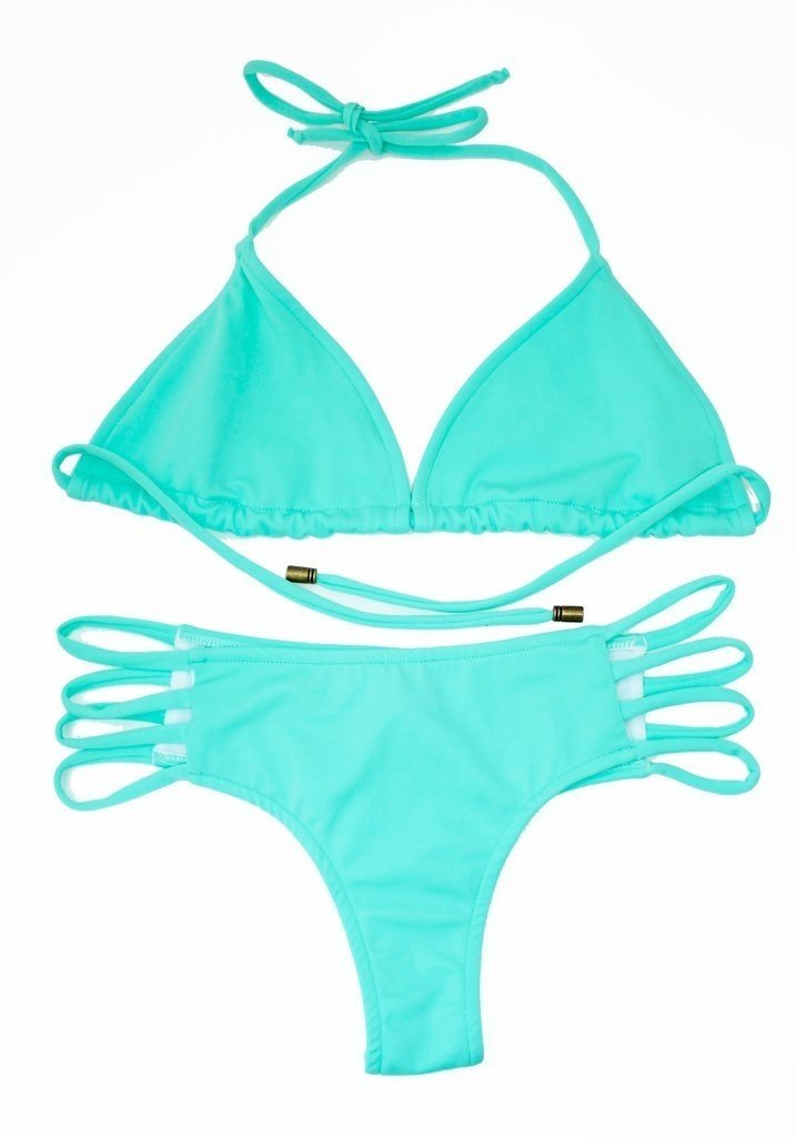 3b87b1960518 Bikini Conjuntos Culotteless con Tiras de Colores Vibrantes. Top Triángulo  ROSA FLUOR, AGUA VERDE.