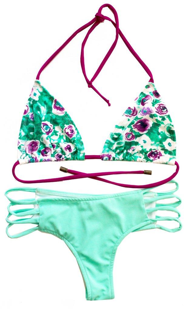 7ce1846aaf36 Bikini Conjuntos Culotteless con Tiras. Combinado Estampados con Liso.  Verde Agua o Purpura