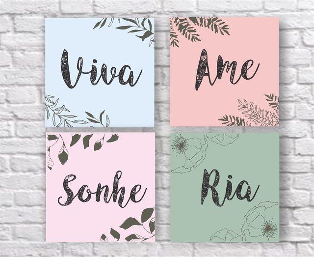 Kit placas decorativas mdf frase viva ame sonhe ria fr36 - Placas decorativas para pared interior ...