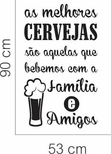 Adesivo Parede Cozinha Sala Frase Cerveja Amigos Família