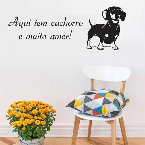 Adesivo Parede Pet Shop Cachorro Frase Aqui Tem Amor 2