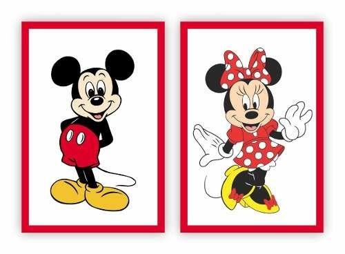 Placa Quadro Mdf 30x40cm Desenho Mickey Minnie Disney