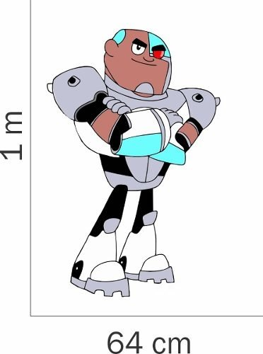 Adesivo Parede Quarto Infantil Jovens Titas Cyborg Desenho
