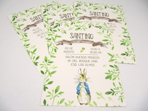 Invitación Peter Rabbit x 8 unidades