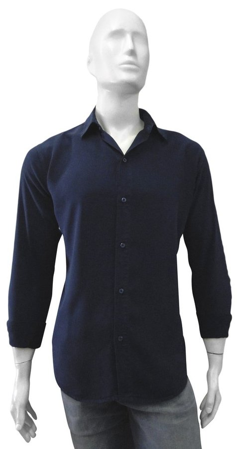 Camisa fit de Tencel manga longa navy blue