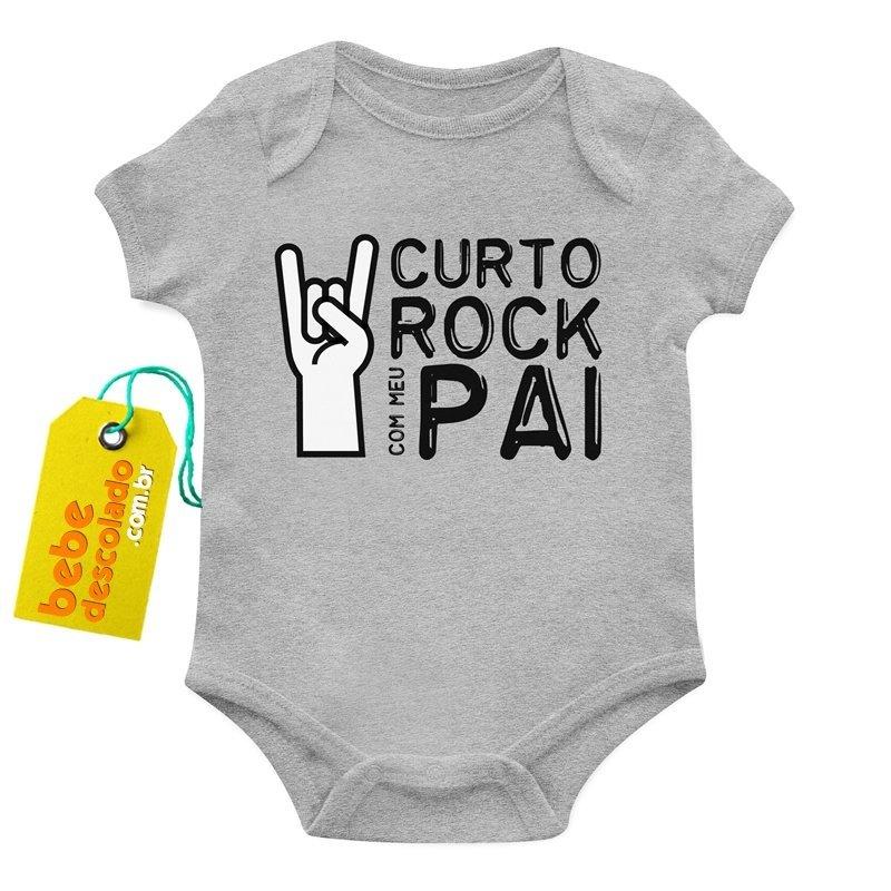 Roupas Descoladas Para Bebês - Body Curto Rock Com Meu Pai 5cc67d62a51