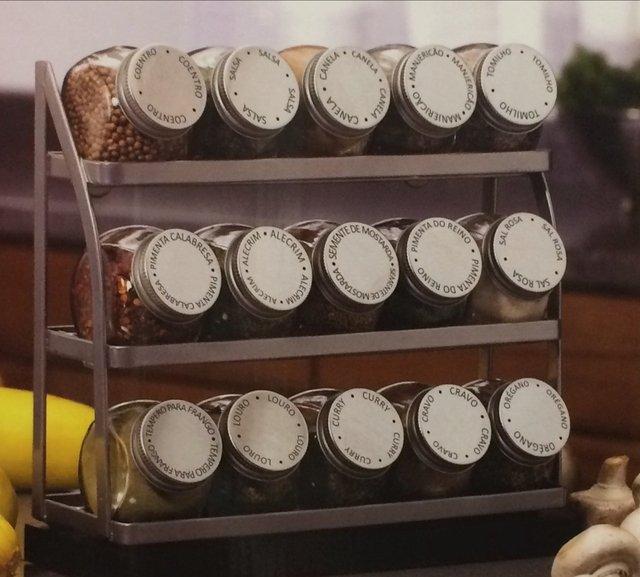 Porta temperos com suporte a o cromado 15 potes de vidro for O que e porta condimentos