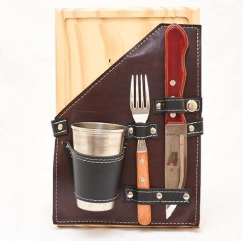 Set Asado Simple Simil Cuero Plato Madera Tramontina Vaso en internet
