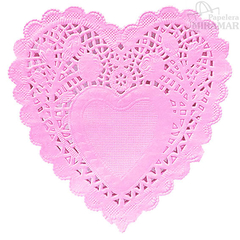 Blondas papel corazon color 10cm - en paq x100