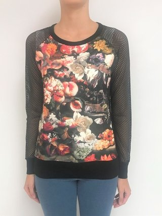Sweater estampado con mangas en red (22824)