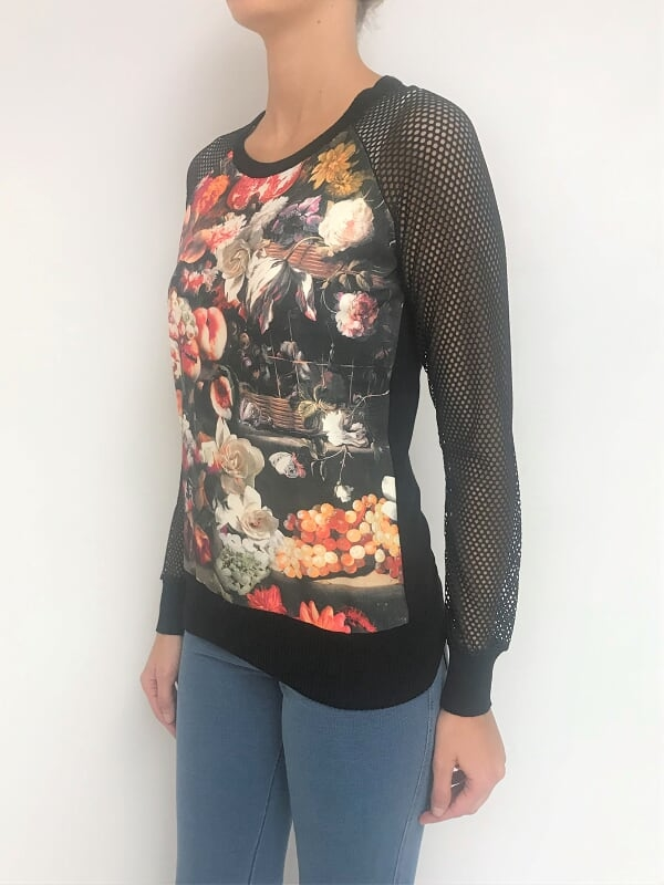Sweater estampado con mangas en red (22824) - comprar online