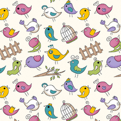 TECIDO TRICOLINE ESTAMPA: MINI BIRDS CREME FB